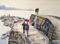 Lyme Regis harbour in watercolour materials TV artist Marilyn Allis